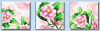 Картина раскраска триптих по номерам MENGLEI 40 х 120 см.  Розовая камелия
