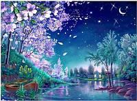 Картина для рисования камнями стразами Diamond painting Алмазная вышивка алмазами Река ночь