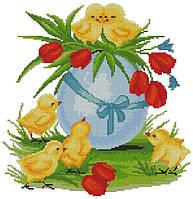 Набор для вышивания крестиком Пасхальные цыплята. Размер: 23*23,5 см