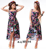 Платье летнее асимметричное с цветочным принтом (2 расцветки) 144