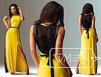 Вечернее желтое платье на торжество с оригинальной спиной