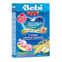 Молочная каша Bebi Premium (Беби Премиум) 3 злака с яблоком и ромашкой, 200 г, для сладких снов
