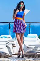 Яркое женское летнее платье с легкой короткой юбкой и обтягивающим лифом без рукавов микромасло шифон