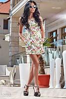 Женский модный летний комбинезон с шортиками впереди выглядит как платье без рукавов c цветочным принтом