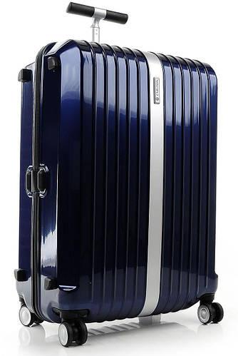 Прочный вместительный пластиковый чемодан 110 л. Carlton Stark 227J479;42 темно-синий