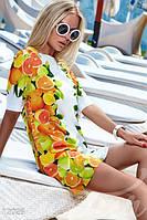 Женское легкое летнее платье трапеция из тонкого шифона на подкладе короткое рукав до локтя