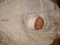 Комплект для крещения - крыжма, рубаха, шапочка. Молочный