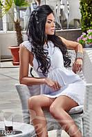 Короткий летний женский сарафан без рукавов украшенный кружевом коттон