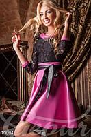 Красивое женское платье с юбкой солнце застежка молния сзади пояс пришивной гипюр эко кожа