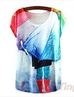 Новинка! Летняя женская футболка, топ, майка, с напечатанным рисунком, рисунок - осень
