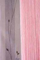 Шторы нити однотонные розовые