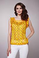 Блуза женская с рюшами желтого цвета, 100% шелк
