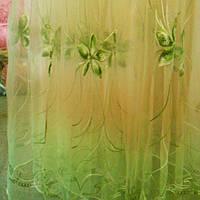 Органза, тюль, гардина салатовая с вишивкой в цветочки