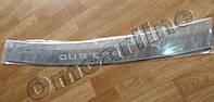 Накладка на задний бампер Renault duster (рено дастер), логотип, без загиба. нерж.