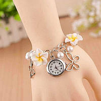 Женские наручные часы браслет Blossom с цветами Белые
