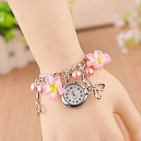 Женские наручные часы браслет Blossom с цветами Розовые
