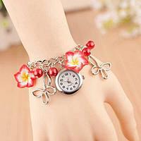 Женские наручные часы браслет Blossom с цветами Красные