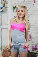 Костюм женский майка с шортами розовый, фото 1