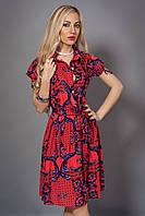 Платье-рубашка из штапеля,декорировано поясом