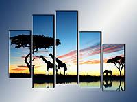 """Модульная картина """"Африканские силуэты"""" Модель: 7950007"""