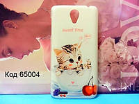Чехол на Lenovo S650 оригинальная панель накладка с рисунком котик в чашке
