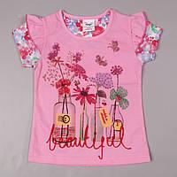 Детская футболка для девочек розовая Beautiful Flags/ 92, 98,104,110,116 см (1.5-2, 2-3, 3-4 года, 5-6 лет)