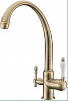 Смеситель для кухни с подключением питьевой воды Kaiser Vincent 31145-3, бронза.
