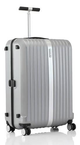 Пластиковый практичный чемодан 68 л. Carlton Stark 227J467;35 серебристый