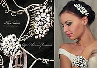 """""""Бело-чёрный жасмин"""" (гребень+браслет) Комплект украшений ручной работы:"""
