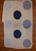 """Набор ковриков для ванной, 60х100 + 60х50см. """"Кружки"""", цвет голубой с белым"""
