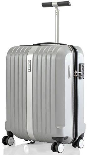 Прочный надежный малый чемодан из пластика 40 л. Carlton Stark 227J455;35 серебристый