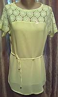 Шифоновая нарядная блуза с гипюром под поясок