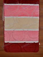 """Набор ковриков для ванной, 60х100 + 60х50см. """"Кружки"""", цвет розовый с бежевым"""