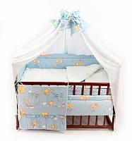 Комплект в детскую кроватку 6 предметов ткань ранфорс Мишка с луной со звездами, (цвет  разные)+ (Арт. MMA-B6-MLZ-005)