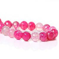 Бусина природный камень агат гранённый 8 мм,  розовый