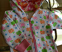 Кофта детская на замке на девочку с капюшоном утеплённая Яблоки/ 86,92,98,104,110,116 см/1.5-2-3-4года,5-6 лет