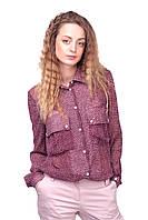 Модная шифоновая женская блузка в горошек Бордовая