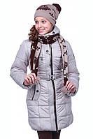 Зимнее детское полупальто на синтепоне Иванна (Nui Very) с шапочкой и шарфиком купить недорого в Украине