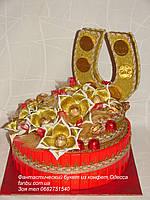"""Торт из конфет""""шкатулка удачи"""",цвет красный"""