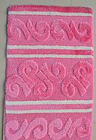 """Набор ковриков для ванной, 60х100 + 60х50см. """"Узор из завитушек"""", цвет розовый"""