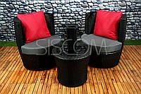 Набір столик + 2 крісла з штучного ротангу