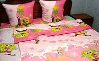 Детское полуторное постельное белье розовый Губка Боб (Ранфорса)