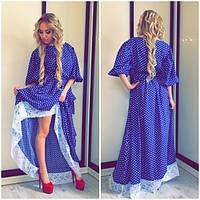Длинное платье в горошек с кружевом