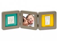 Двойная рамочка с отпечатком Baby Art, серая