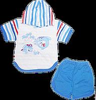 Детский летний костюмчик, футболка с капюшоном и шортики, хлопок (кулир), р. 80, 86, 92, 98, 104, Украина