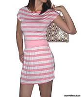 Платье в морском стиле, розово-белое