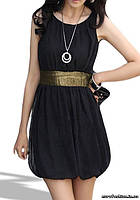 Платье черное с вшитым золотистым поясом