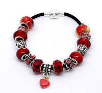 Браслет Pandora  (Пандора). С оттенками красного, чёрный, серебряный