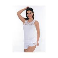 Трикотажная пижама с кружевными вставками. Майка+ шортики. Onurel 909