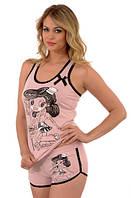 Розовая пижама с девушкой. Короткие шорты +майка Onurel 646